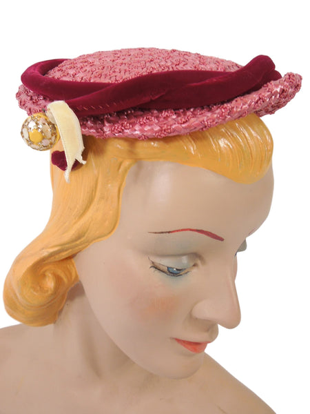 50s Fuchsia Straw Hat - side view with bakelite dangle
