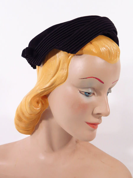 50s Black Cocktail or Day Hat - side view
