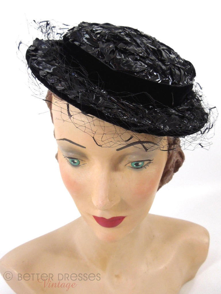 40s/50s Modified Sailor Veil Hat - front view