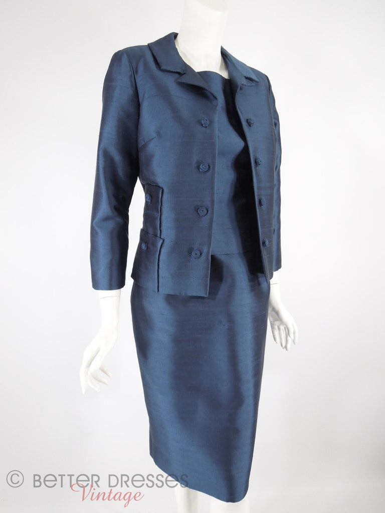 60s Navy Dress & Jacket Set - angle view