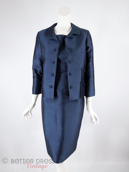 60s Navy Dress & Jacket Set - front view