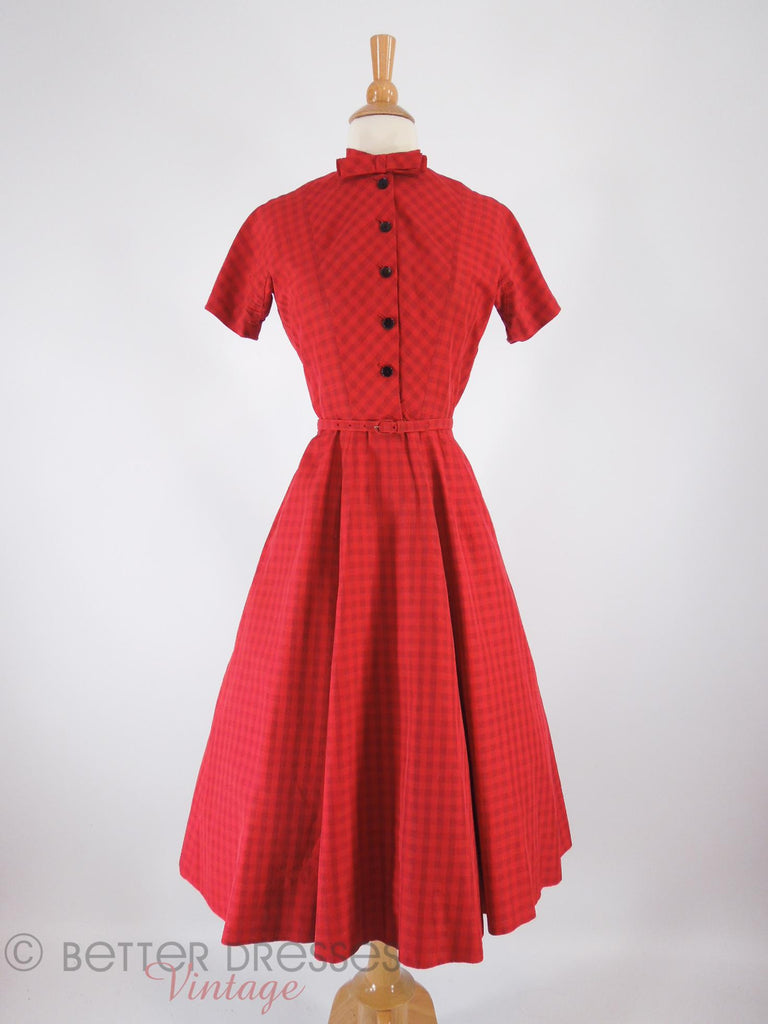 40s/50s Red Plaid Shirtwaist - front