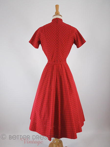 40s/50s Red Plaid Shirtwaist - back