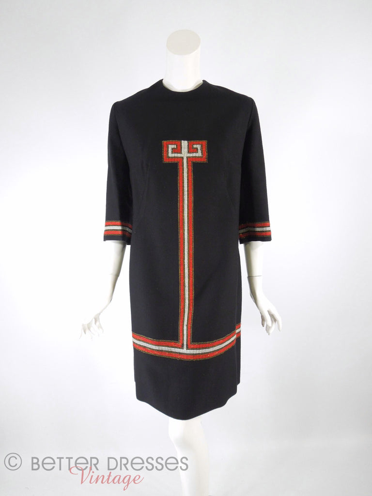 Ethnic Embroidered Tunic Shift Dress - front view