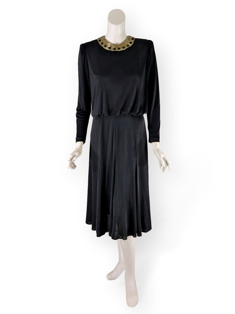80s Slinky Black Dress With Beaded Collar
