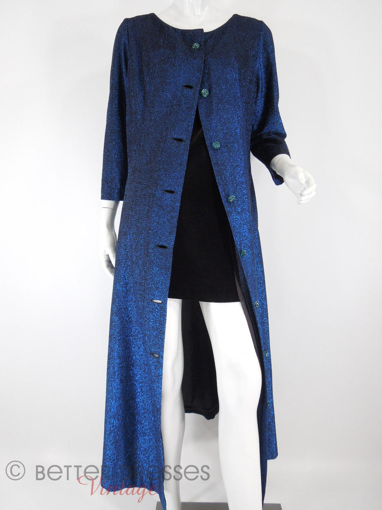 60s Blue Metallic Duster Coat - open over mini dress