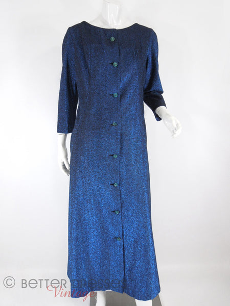 60s Blue Metallic Duster Coat - closed, front view