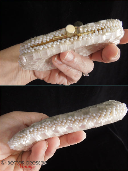50s White beaded Coin Purse - top and bottom
