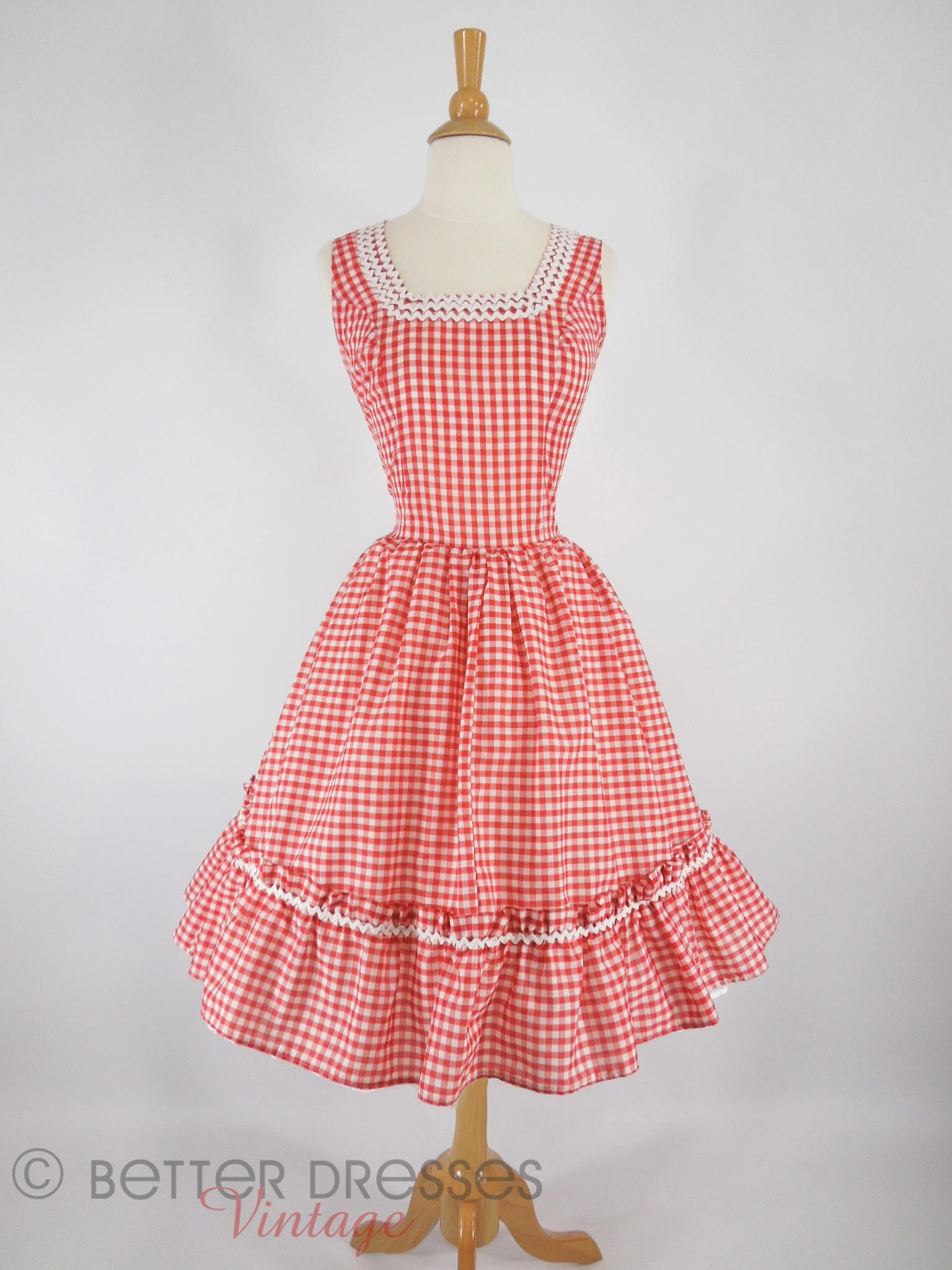 50s Vintage Red Gingham Full Circle Patio Dress med – Better