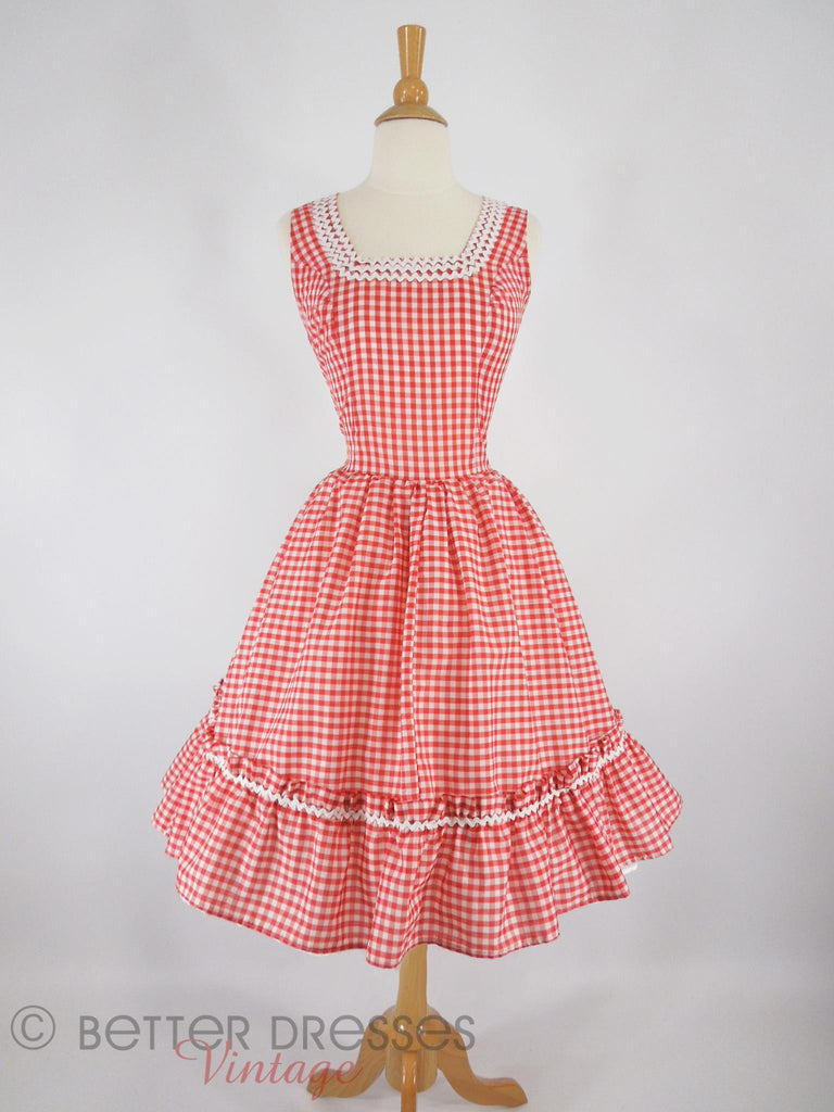 50s Red+White Gingham Patio Dress - front