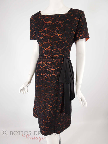 50s Black Lace on Orange Dress - angle view