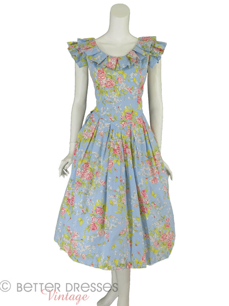 80s Garden Party Dress - full view front