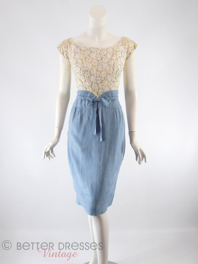 50s/60s Cream Sparkle and Blue Wiggle Dress - front