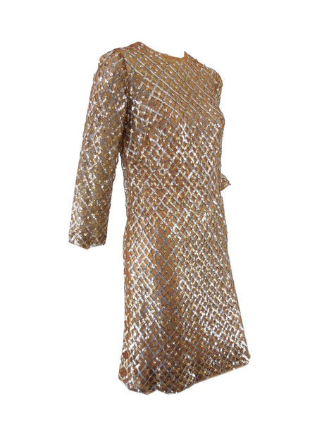 60s Malcolm Starr Sequin Dress - angle view