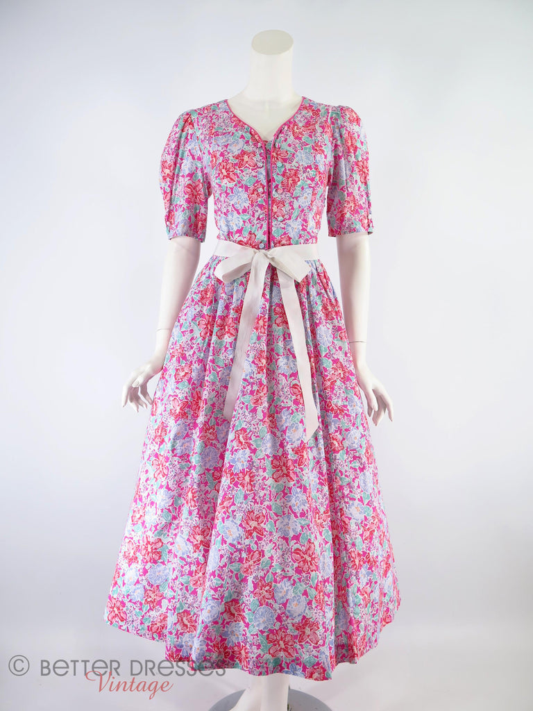 80s Laura Ashley Floral Dress - with a ribbon