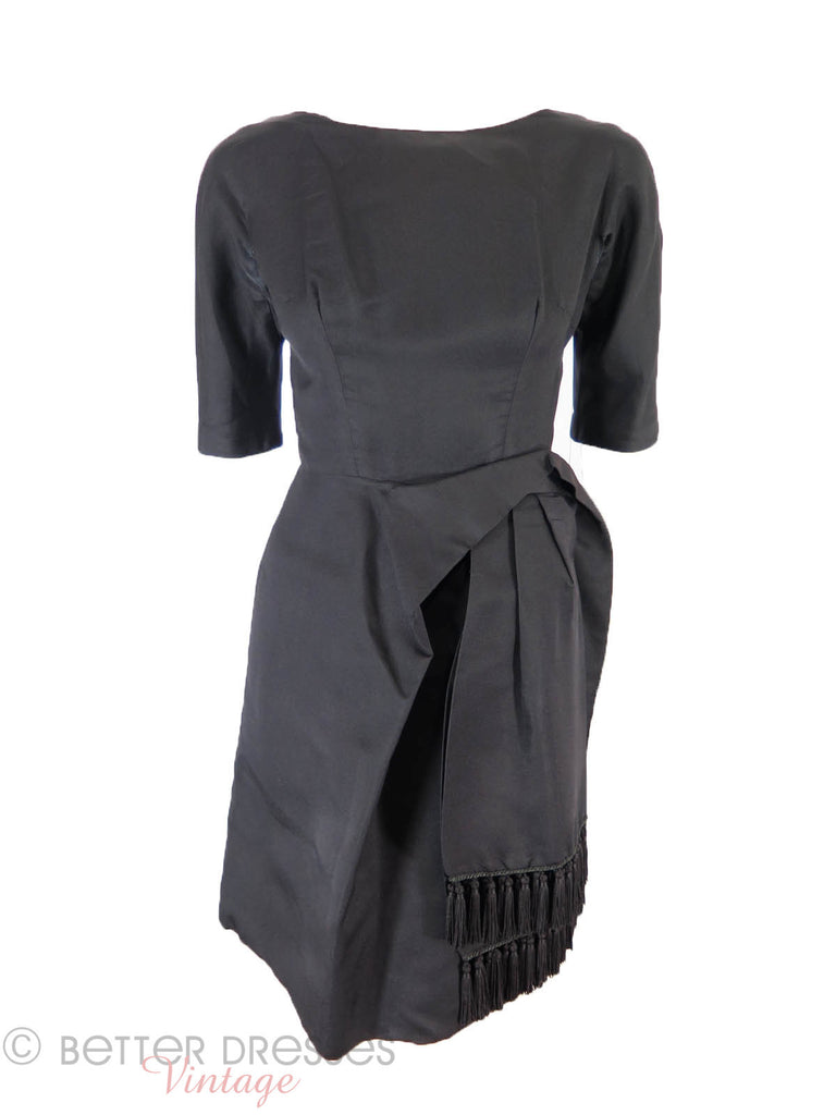 50s Black Cocktail Dress - front view