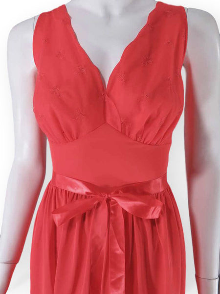 close up of Vanity Fair 1950s red nightie or slip