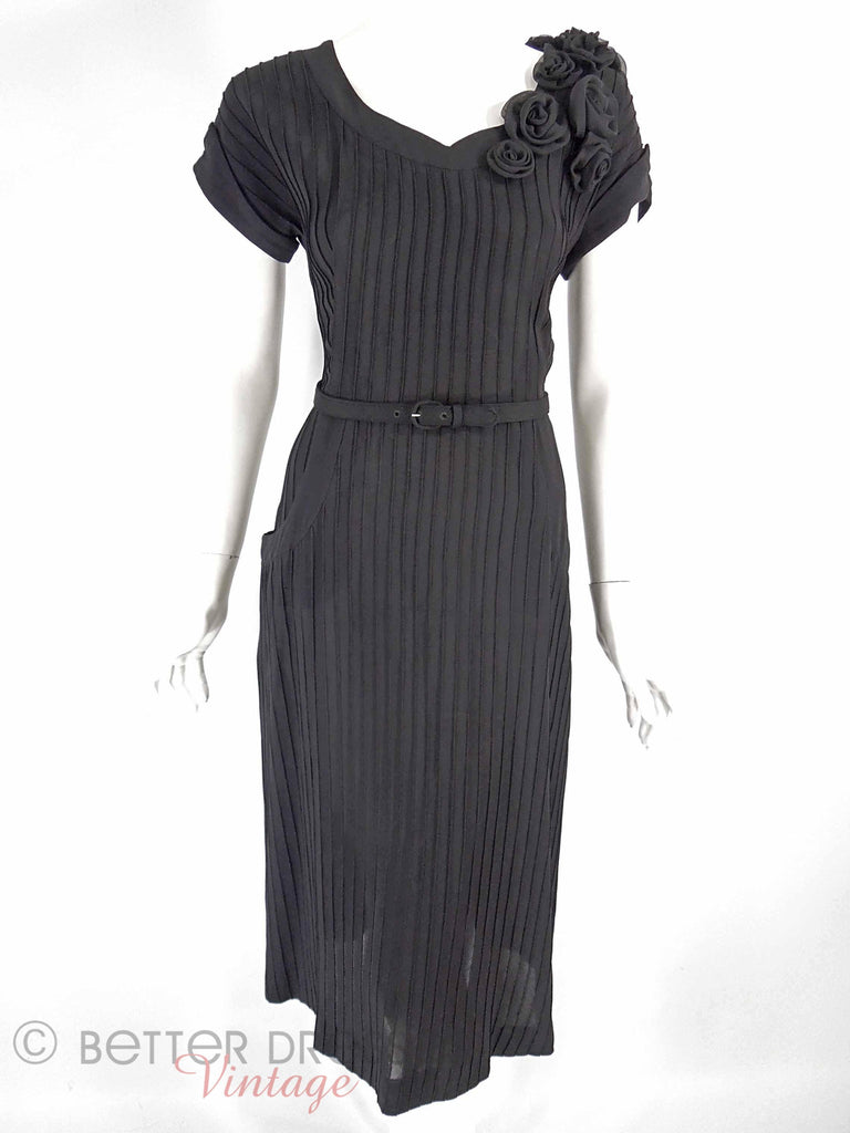 40s/50s Black Crepe Dress With Roses - front