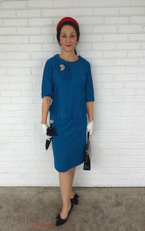 teal blue 50s or early 60s top and skirt set on yours truly