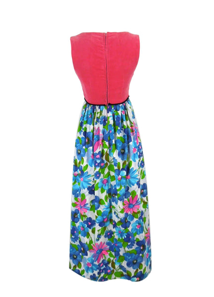 1960s Hot Pink Velvet and Floral Maxi - back