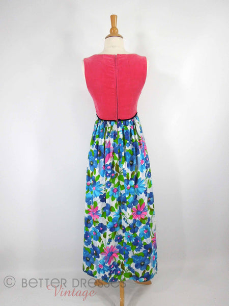 60s/70s Velvet and Floral Maxi - back view