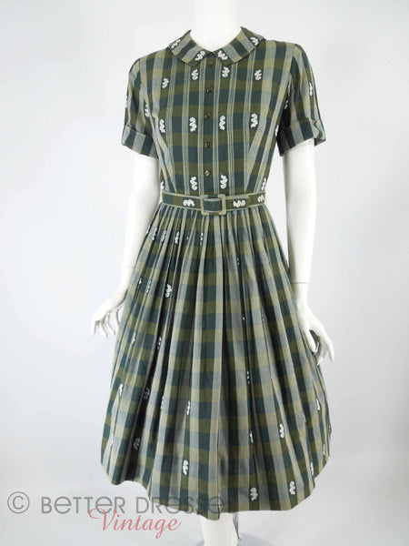 50s/60s Green Plaid Belted Shirtwaist - with crinoline