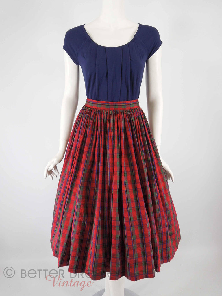 60s Red Plaid Silk Skirt - full view