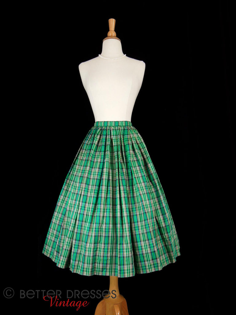 60s Plaid Taffeta Full Skirt - front view