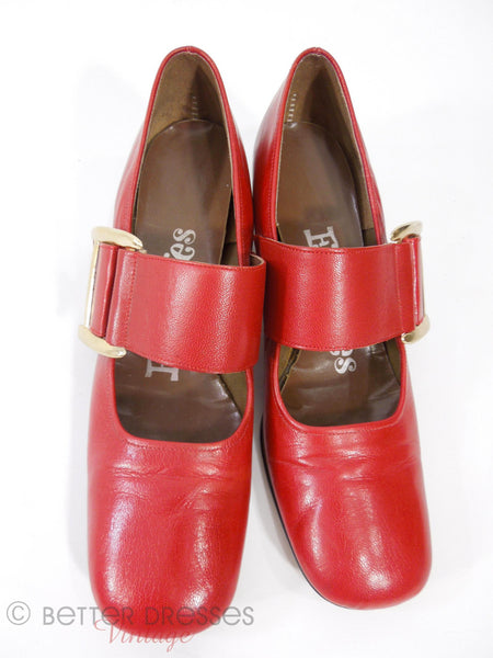 60s Mod Red Mary Jane Shoes - top view