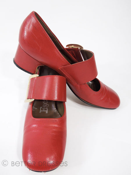 60s Mod Red Mary Jane Shoes - stacked view
