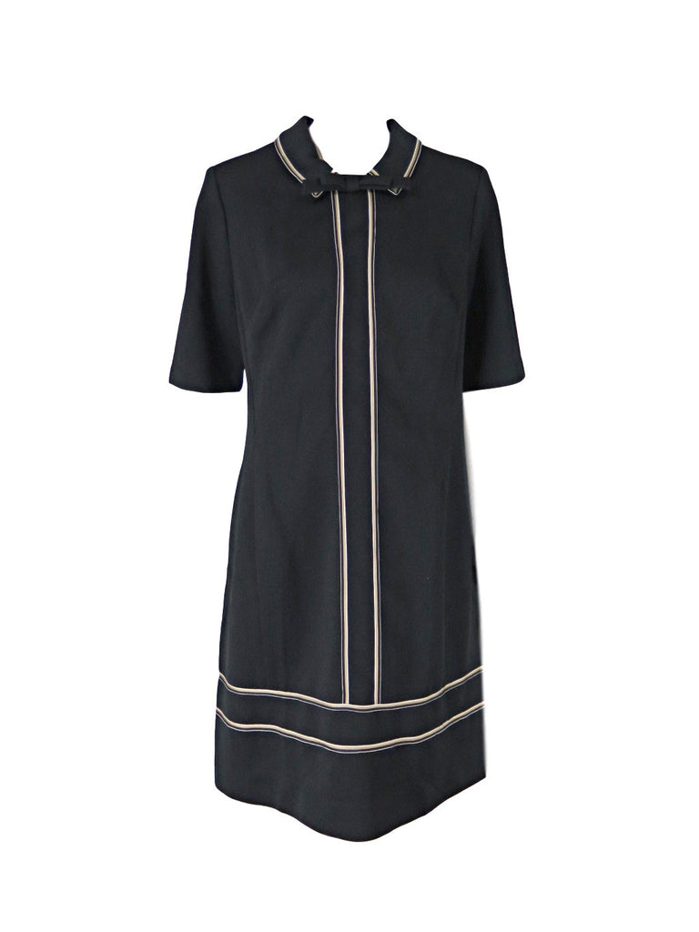 60s/70s Edith Flagg Shift Dress in Black