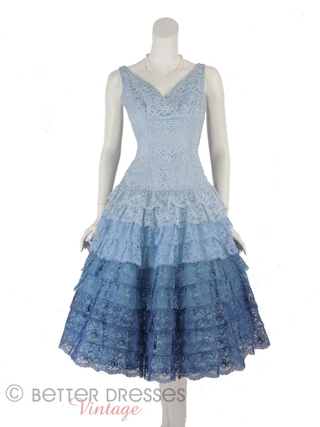 50s Blue Lace Party Dress - front