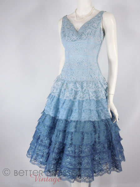 50s Blue Lace Party Dress - angle view
