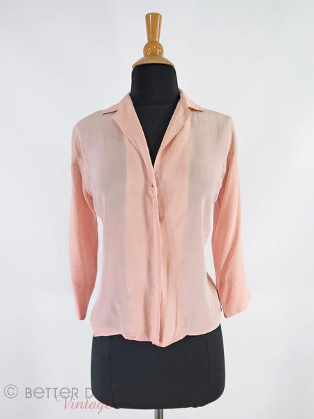 40s/50s Pink Silk Blouse - front