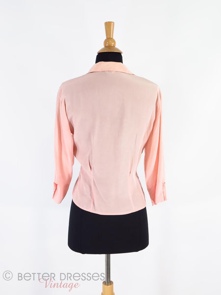 40s/50s Pink Silk Blouse - back