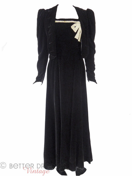 30s Black Velvet Dress & Jkt - main view