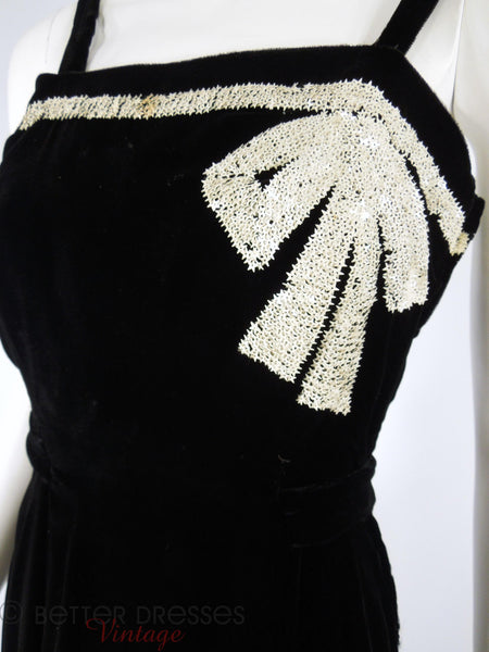 30s Black Velvet Dress & Jkt - bow detail