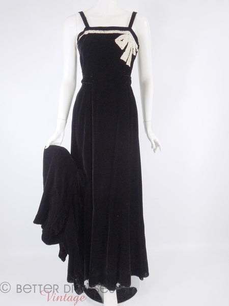 30s Black Velvet Dress & Jkt - dress front