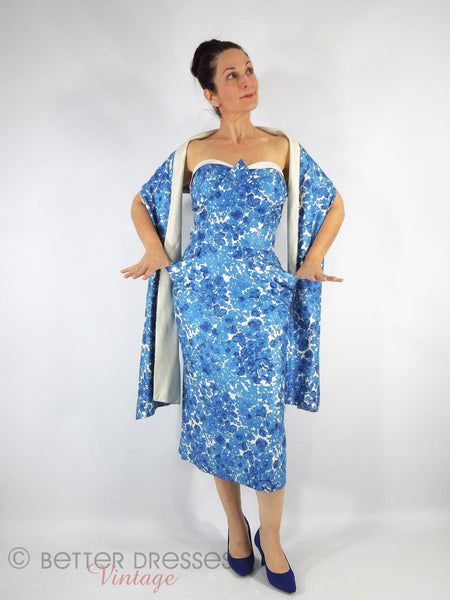 40s/50s Blue Floral Wiggle With Wrap - front view