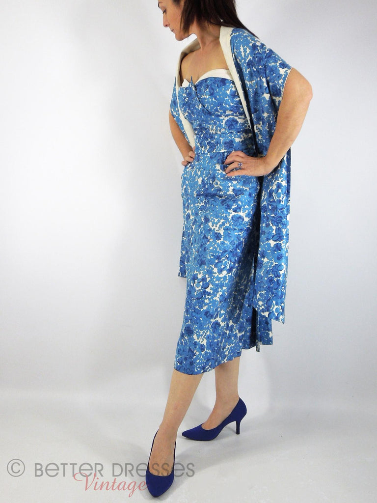 40s/50s Blue Floral Wiggle With Wrap - view 1