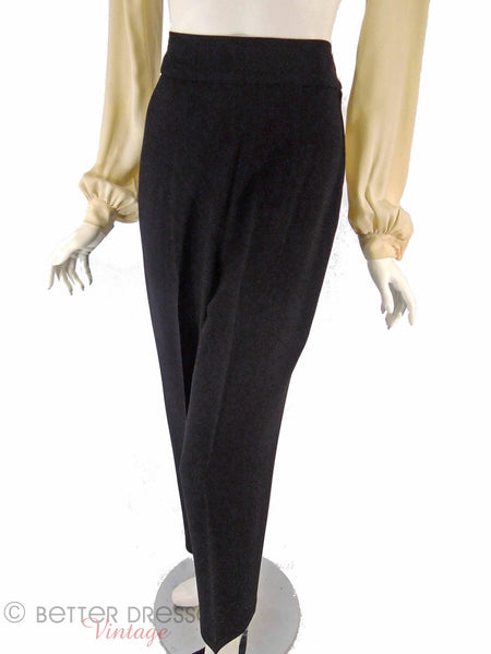 40s Black High-Waist Trousers - full view