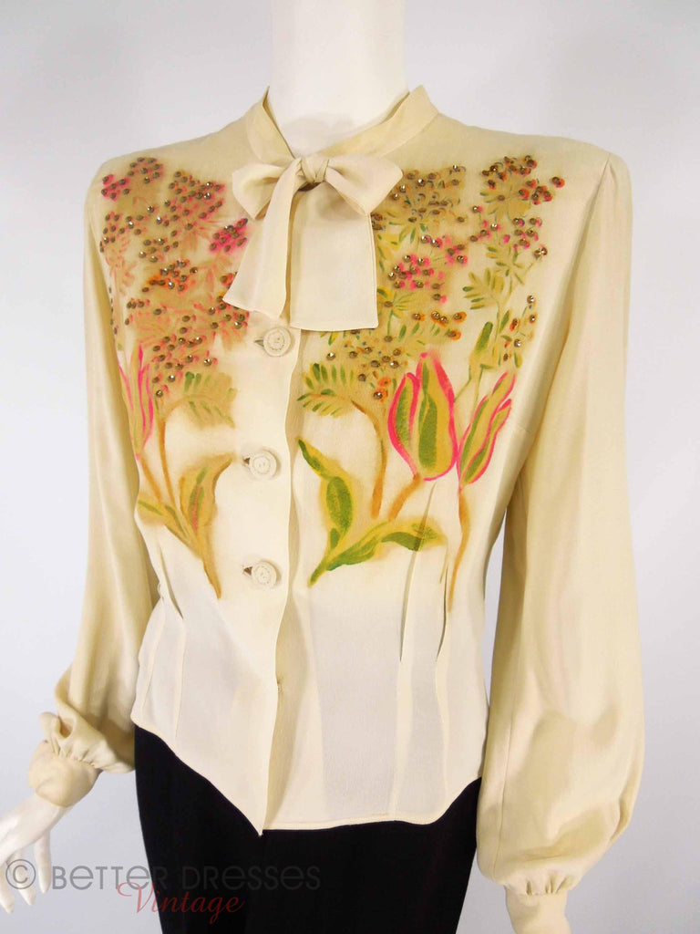 40s Embellished Rayon Blouse - full view