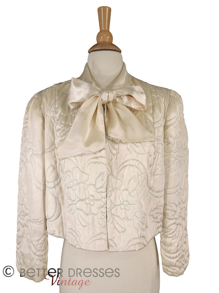 40s Quilted Satin Bed Jacket - full view