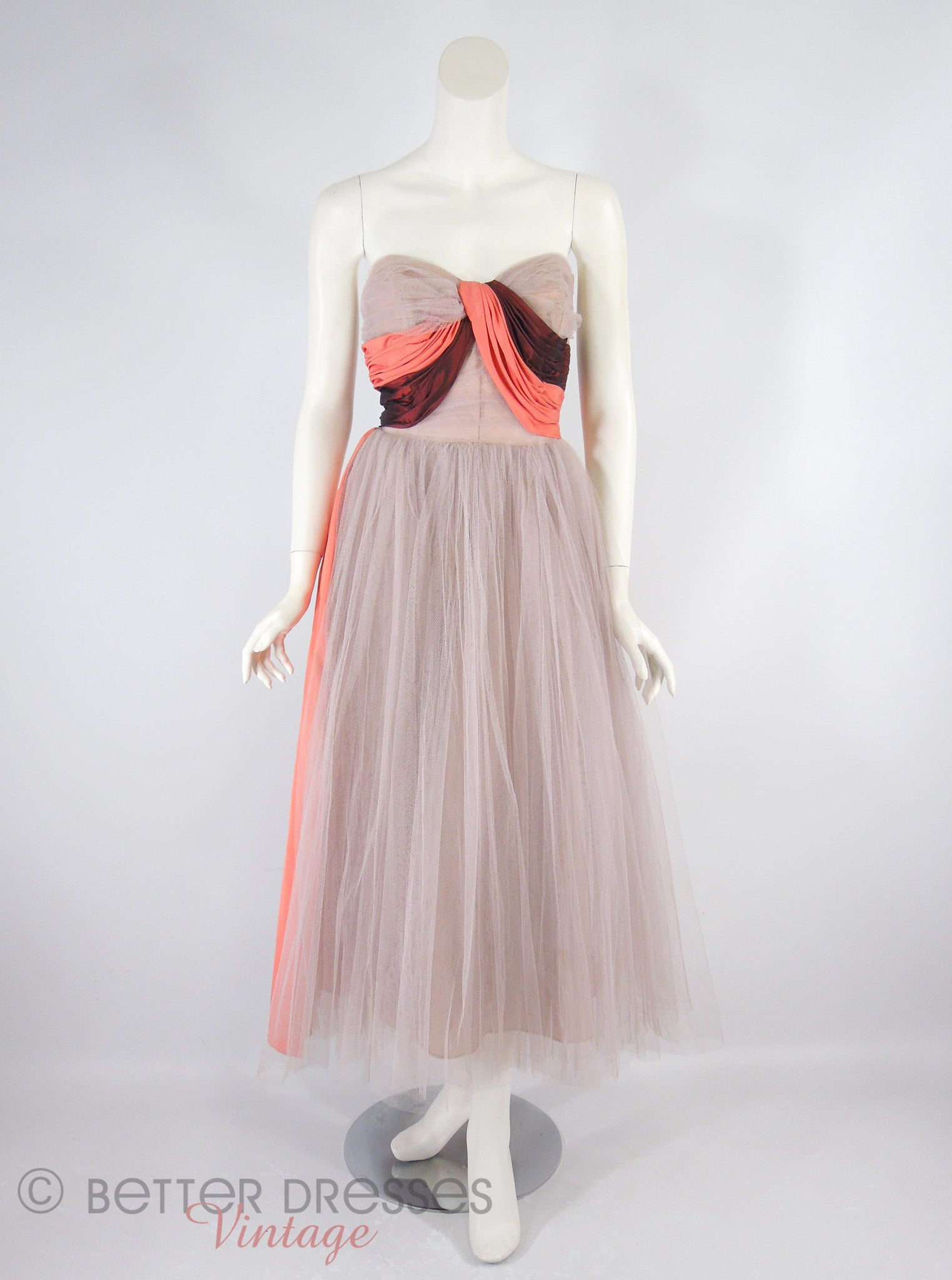40s 50s Tulle And Taffeta Gown Sm Better Dresses Vintage