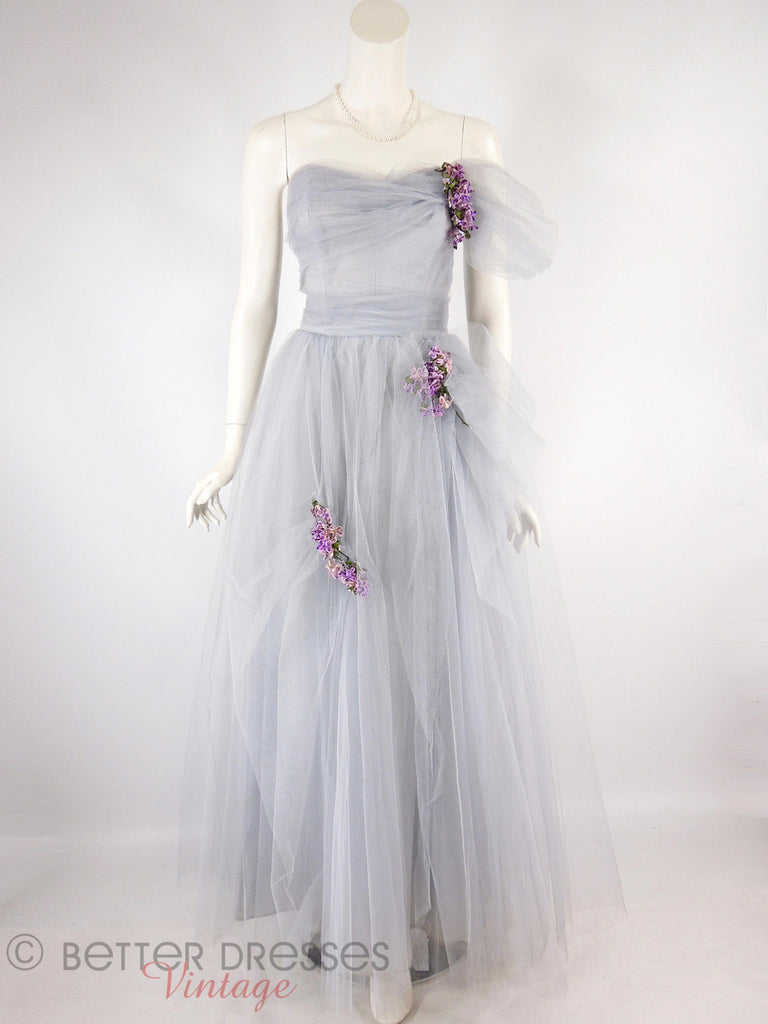 40s/50s Periwinkle Tulle Gown - full view