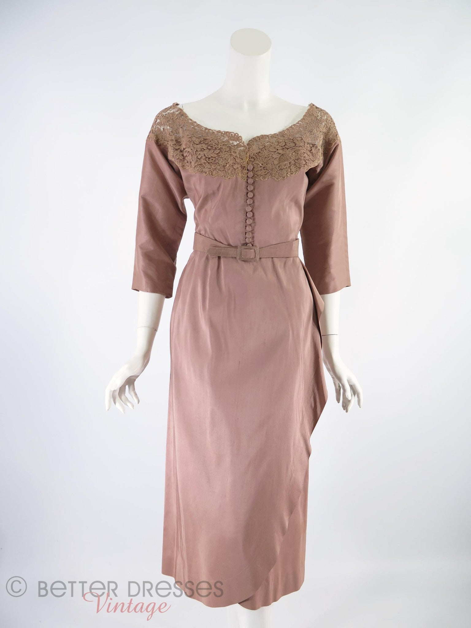 40s/50s New Look Mocha Cocktail Dress With Lace Neckline - – Better ...