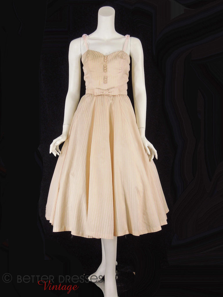 40s/50s Pink Stripe Silk Dress - front