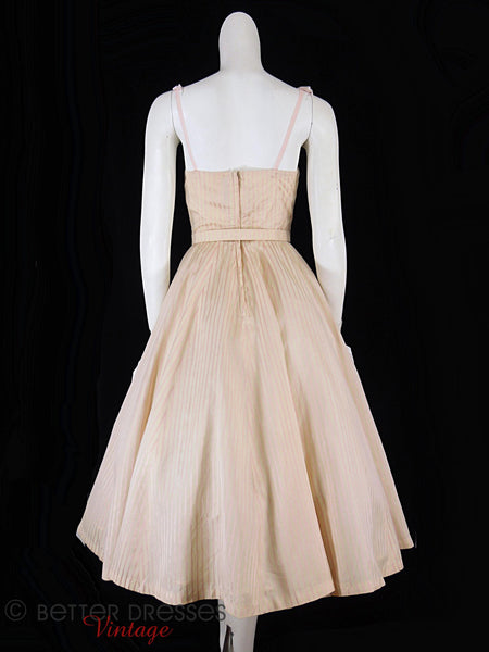 40s/50s Pink Stripe Silk Dress - back