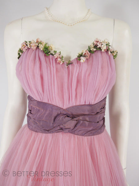 40s/50s Pink Tulle Ball Gown - close up