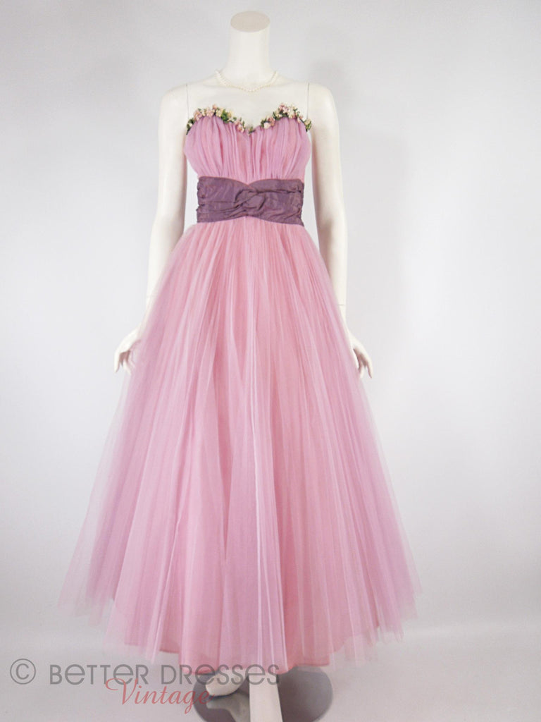40s/50s Pink Tulle Ball Gown - full view